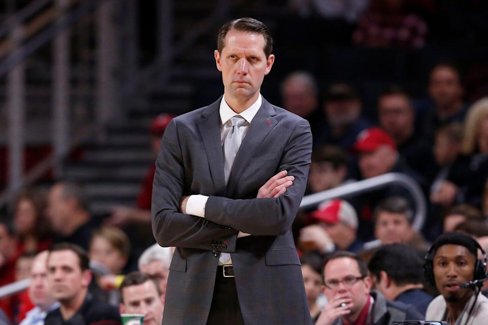 Cincinnati Bearcats head coach John Brannen watches from the sideline in the first half of the NCAA basketball game between the Cincinnati Bearcats and the Alabama A&M Bulldogs at Fifth Third Arena in Cincinnati on Thursday, Nov. 14, 2019.