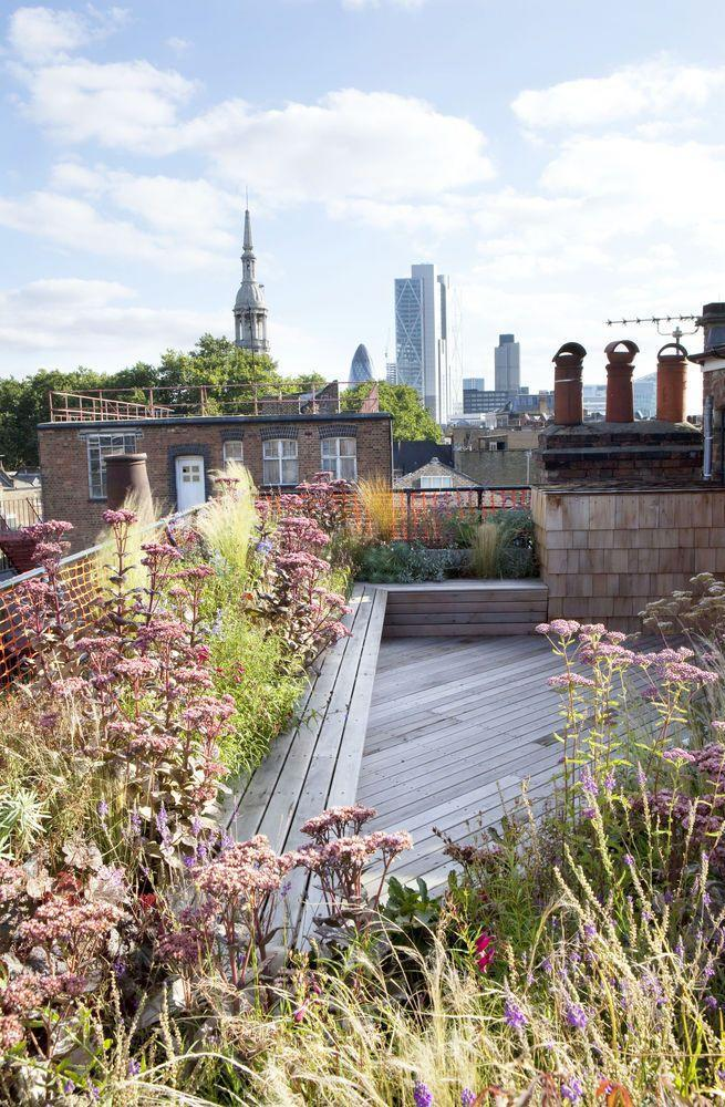 """<p>Cedar wood decking and shingles unify this awkward shaped roof terrace by Sarah Jane Rothwell, founder of <a href=""""https://londongardendesigner.com/"""" rel=""""nofollow noopener"""" target=""""_blank"""" data-ylk=""""slk:London Garden Designer"""" class=""""link rapid-noclick-resp"""">London Garden Designer</a>. The soft, prairie-style planting has been chosen to withstand the hot, dry conditions of the exposed location and the wraparound bench provides copious seating without adding unnecessary clutter.</p>"""
