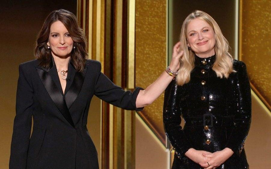Tina Fey and Amy Poehler presented together (sort of) from opposite coasts of the US - reuters
