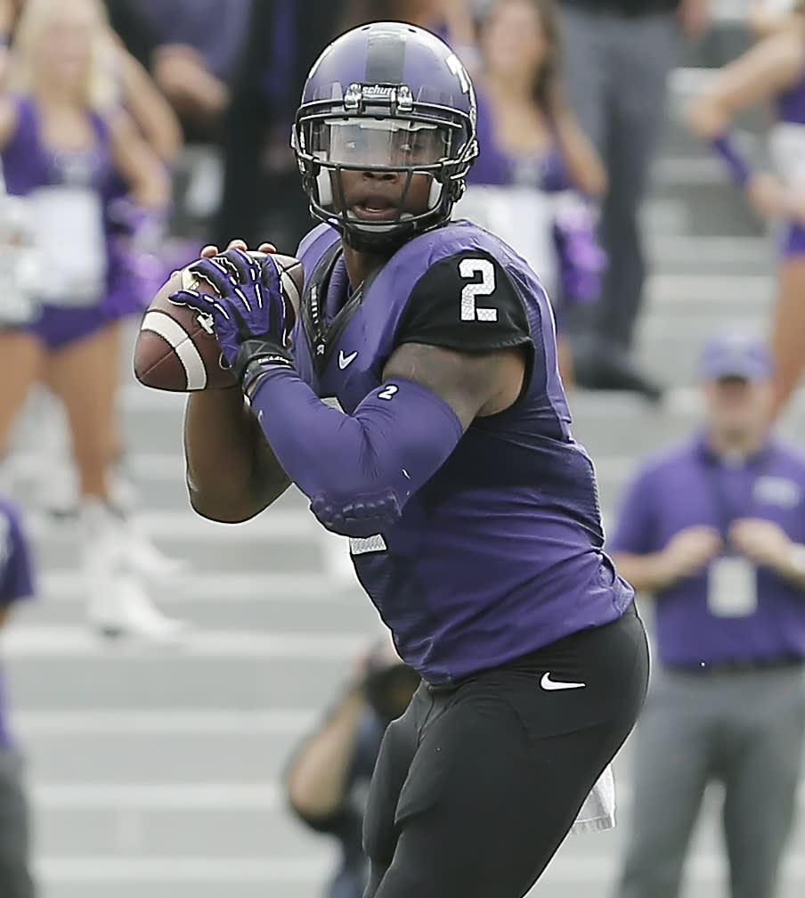 TCU quarterback Trevone Boykin (2) looks for an open receiver during the first half of an NCAA college football game against SMU Saturday, Sept. 28, 2013, in Fort Worth, Texas. (AP Photo/Brandon Wade)