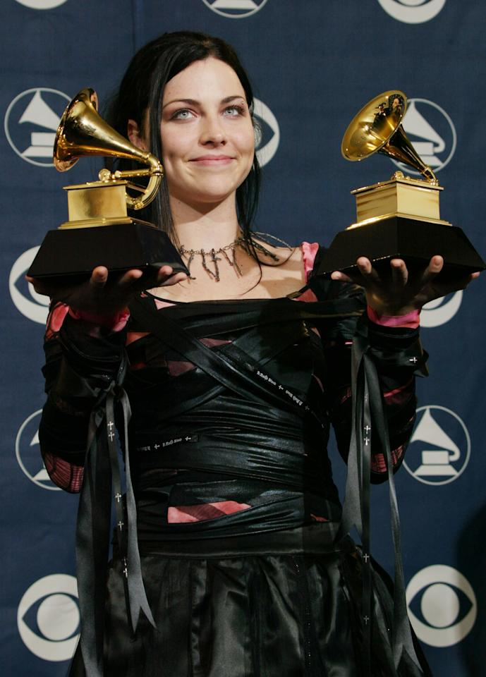 LOS ANGELES - FEBRUARY 8:  Singer Amy Lee of Evanescence poses backstage in the Pressroom at the 46th Annual Grammy Awards held at the Staples Center on February 8, 2004 in Los Angeles, California.  (Photo by Frederick M. Brown/Getty Images)
