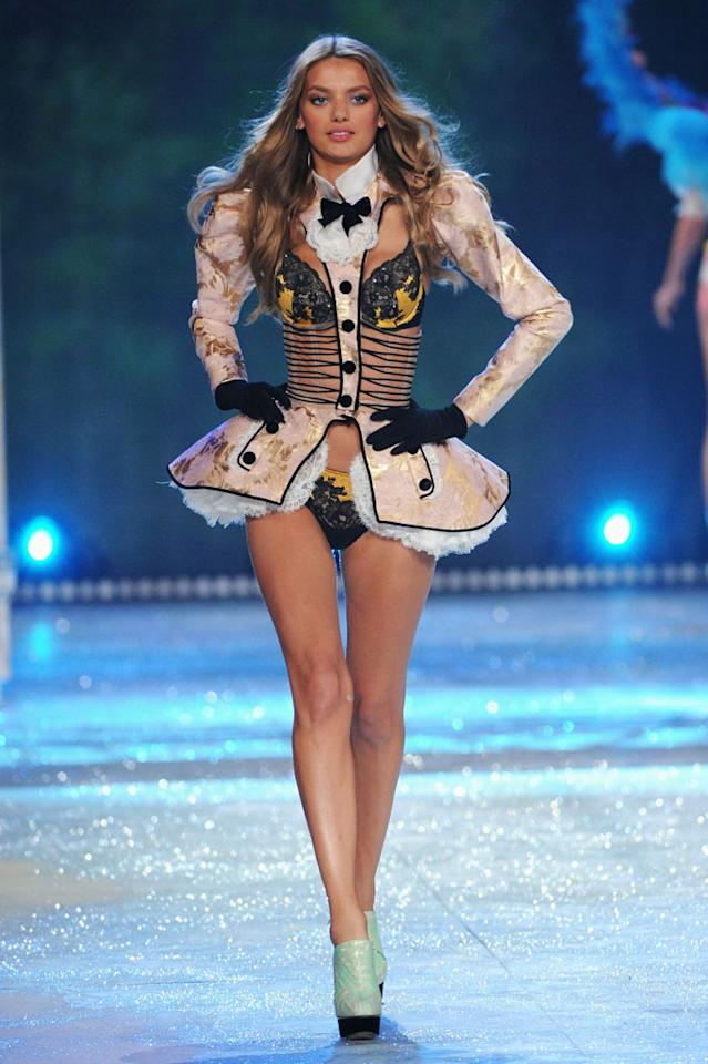 Bregje Heinen walks the runway during the 2012 Victoria's Secret Fashion Show at the Lexington Avenue Armory on November 7, 2012 in New York City.