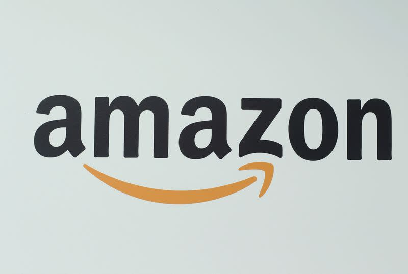 An Amazon logo is pictured at a logistics centre in Mannheim
