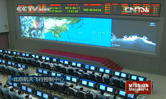 A view inside China's Mission Control center in Beijing during the Shenzhou 10 launch June 11, 2013.