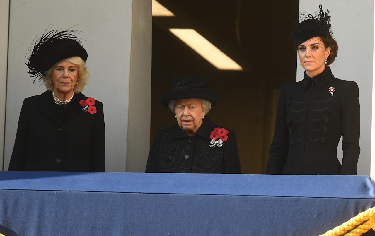 The Duchess of Cornwall, the Queen and the Duchess of Cambridge watched from a balcony during the Remembrance Sunday service at the Cenotaph memorial in Whitehall, central London (Picture: PA)