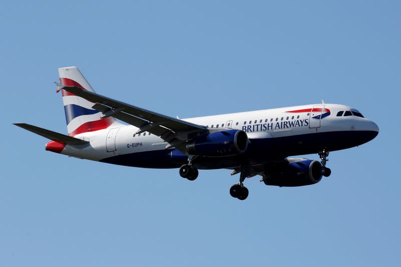 FILE PHOTO: The G-EUPH British Airways Airbus A319-131 makes its final approach for landing at Toulouse-Blagnac airport
