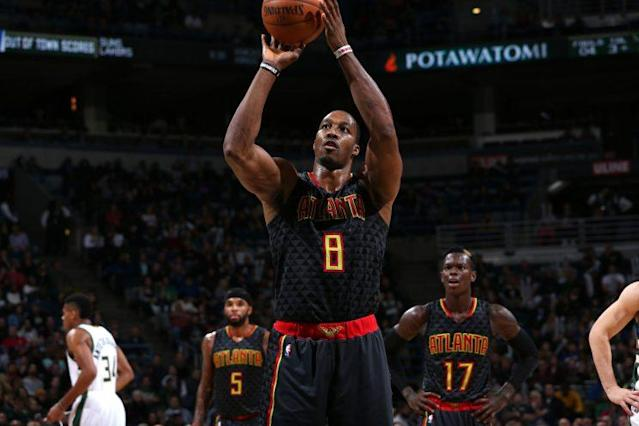 "<a class=""link rapid-noclick-resp"" href=""/nba/players/3818/"" data-ylk=""slk:Dwight Howard"">Dwight Howard</a> is a 56.6 percent career free-throw shooter. (Getty)"
