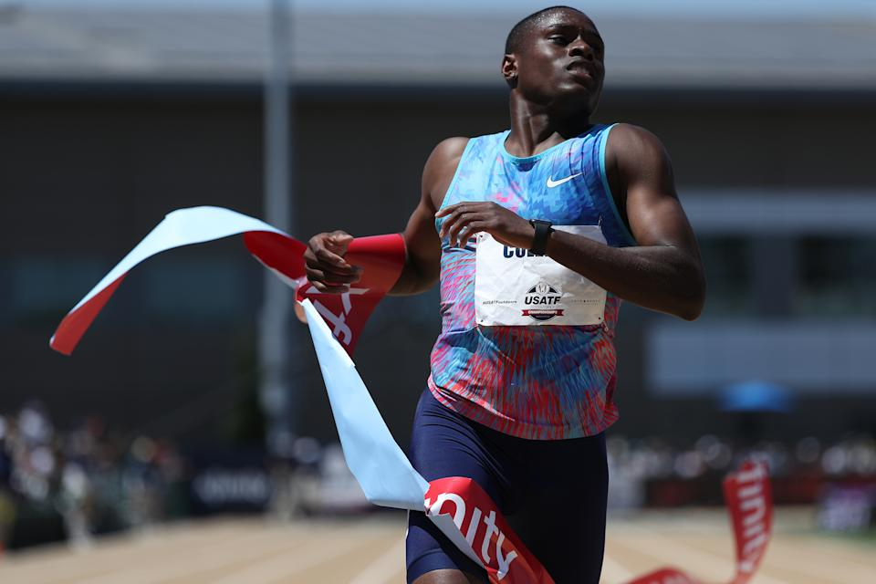 SACRAMENTO, CA - JUNE 25: Christian Coleman finishes in second place in the Men's 200m Final during Day 4 of the 2017 USA Track & Field Outdoor Championships at Hornet Stadium on June 25, 2017 in Sacramento, California. (Photo by Patrick Smith/Getty Images)
