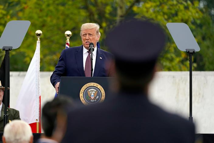 President Donald Trump speaks at a 19th anniversary observance of the Sept. 11 terror attacks, at the Flight 93 National Memorial in Shanksville, Pa., Friday, Sept. 11, 2020.