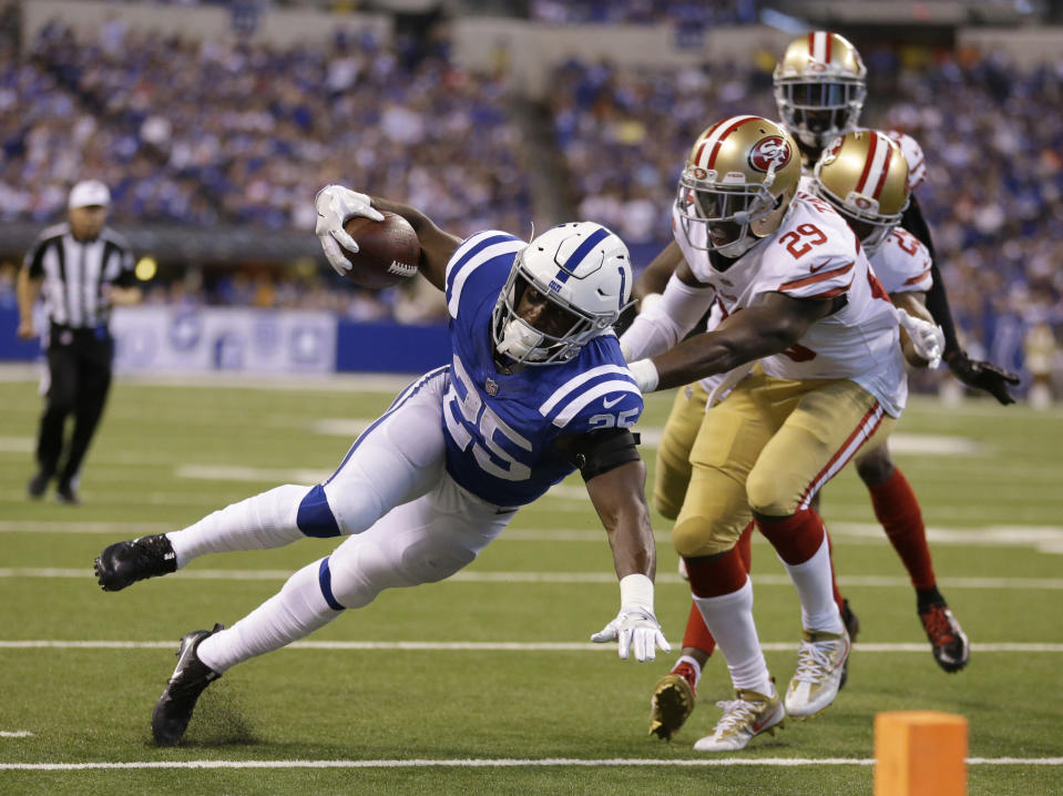 Marlon Mack ran all over the Niners on Sunday. (AP Photo/Michael Conroy)