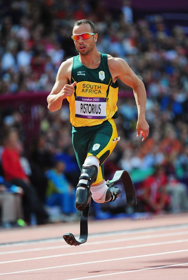 LONDON, ENGLAND - AUGUST 04:  Oscar Pistorius of South Africa competes in the Men's 400m Round 1 Heats on Day 8 of the London 2012 Olympic Games at Olympic Stadium on August 4, 2012 in London, England.  (Photo by Stu Forster/Getty Images)