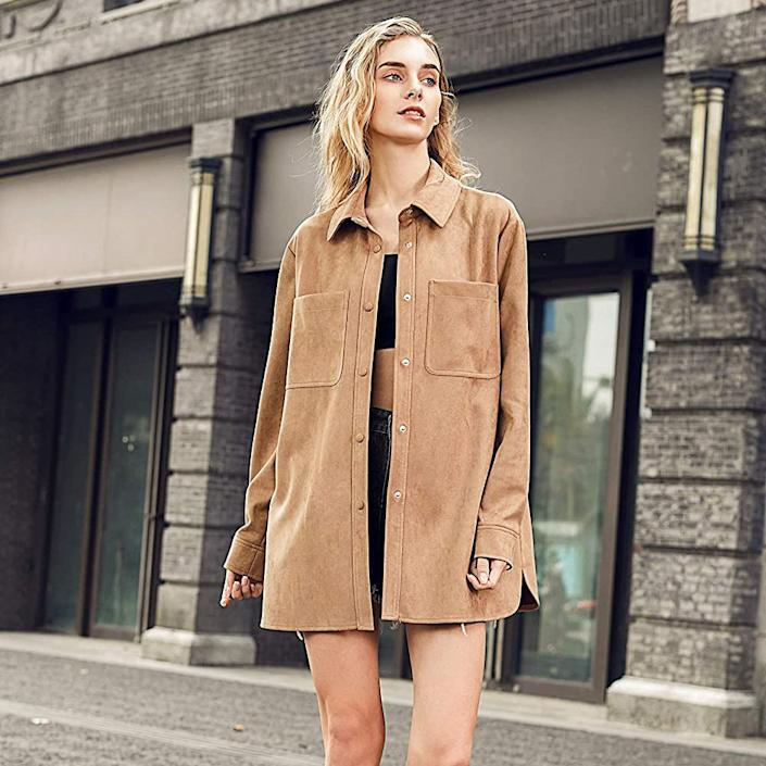 woman's faux suede shirt jacket, gifts for her