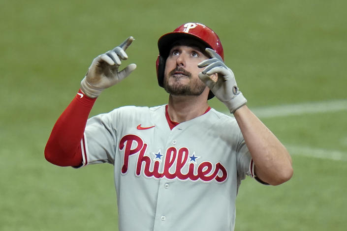 Philadelphia Phillies' Matt Joyce reacts after his solo home run off Tampa Bay Rays relief pitcher Jeffrey Springs during the seventh inning of a baseball game Saturday, May 29, 2021, in St. Petersburg, Fla. (AP Photo/Chris O'Meara)