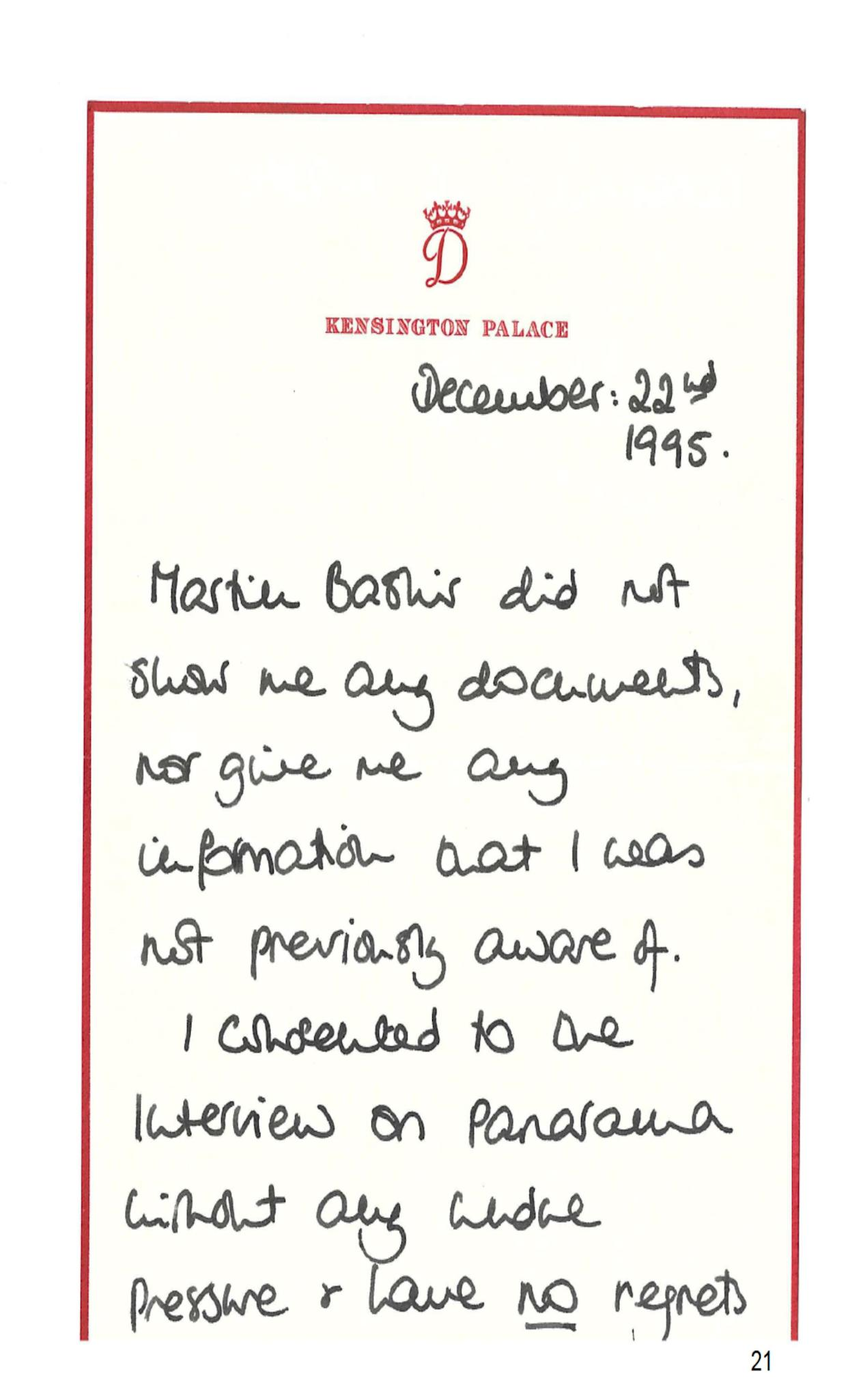 The letter written by Princess Diana to Martin Bashir after her 1995 Panorama interview with him, as published in an annex to Lord Dyson's independent investigation into the circumstances around the program. (Photo: PA/BBC)