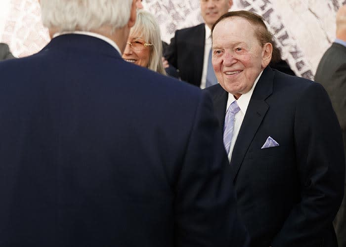Sheldon Adelson chats before a speech by President Donald Trump at the Israel Museum on May 23, 2017, in Jerusalem.