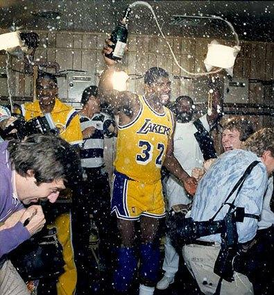 Magic Johnson and his Lakers teammates celebrate the series-clinching victory to the 1987 NBA Finals.