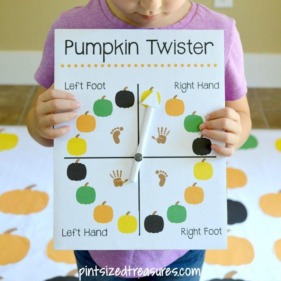 """<p>Put a *twist* on the classic party game with this adorable DIY mat that swaps colorful circles for printable paper pumpkins. This helps little ones master colors <em>and </em>following directions. </p><p><em><a href=""""http://pintsizedtreasures.com/diy-pumpkin-twister-game/"""" rel=""""nofollow noopener"""" target=""""_blank"""" data-ylk=""""slk:Get the tutorial at Pint-Sized Treasures »"""" class=""""link rapid-noclick-resp"""">Get the tutorial at Pint-Sized Treasures »</a></em></p>"""