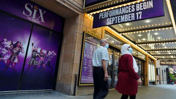PHOTO: Pedestrians walk past a Broadway theater in New York, July 2, 2021. (Xinhua via Getty Images)