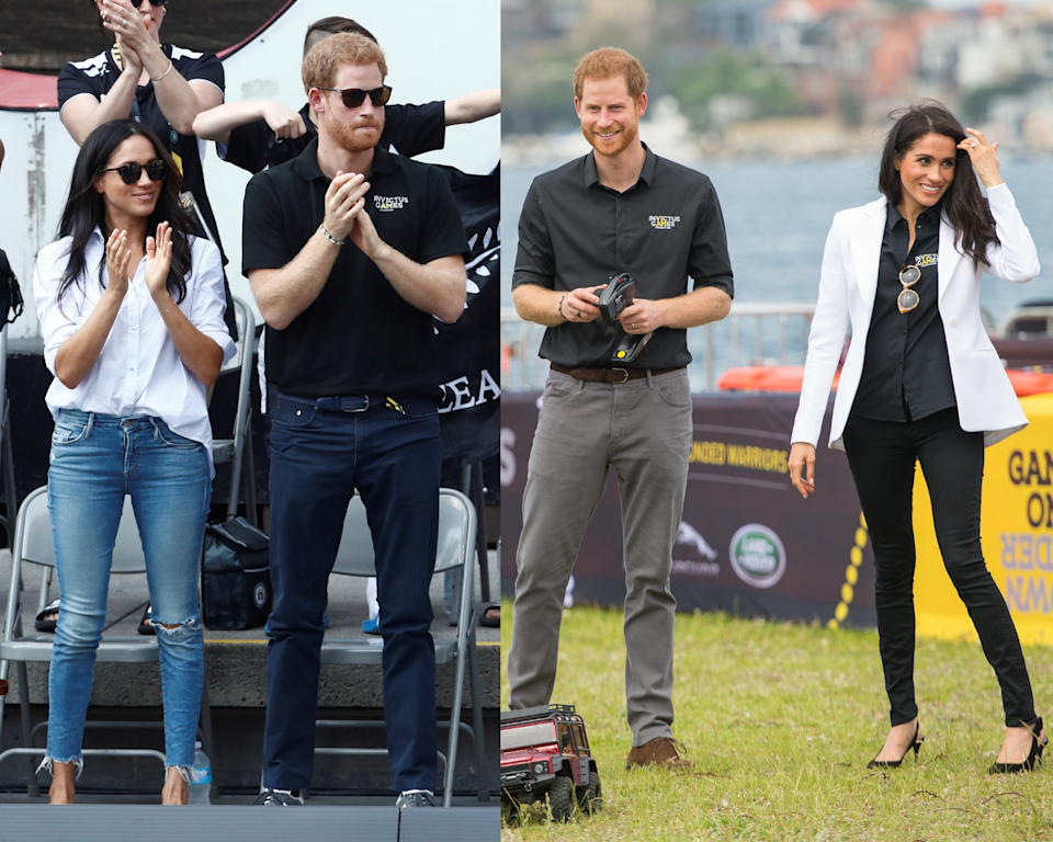 Meghan Markle pictured wearing Mother Denim jeans on two occasions
