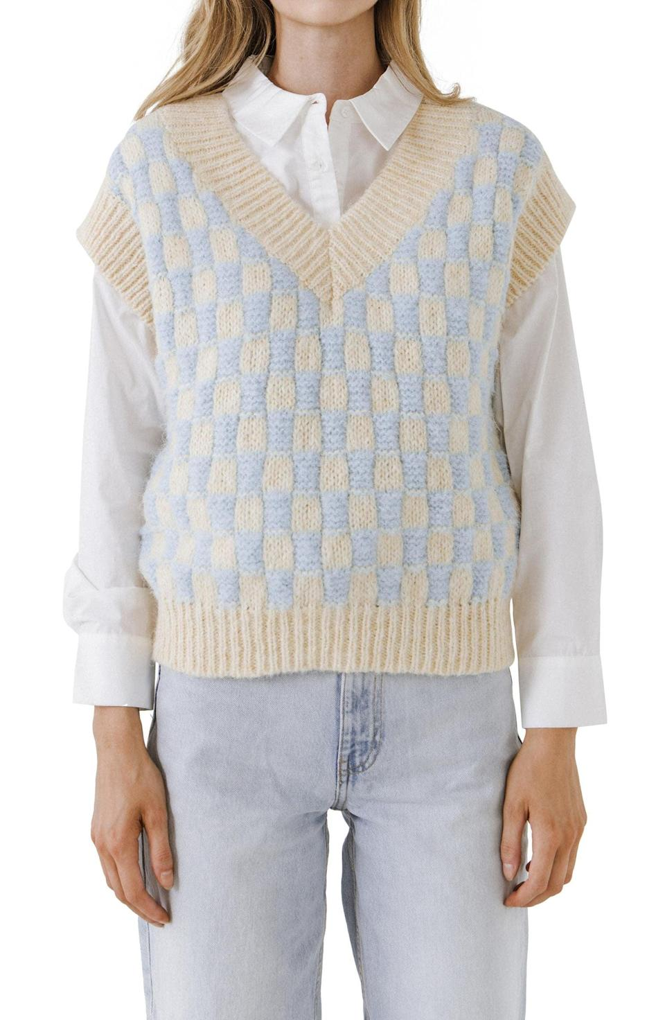 <p>Tap into the checkered knit trend with this retro-inspired <span>English Factory Check Sweater Vest</span> ($80). If you'd like to dial up the school vibes, finish off the look with a button-down and some jeans.</p>