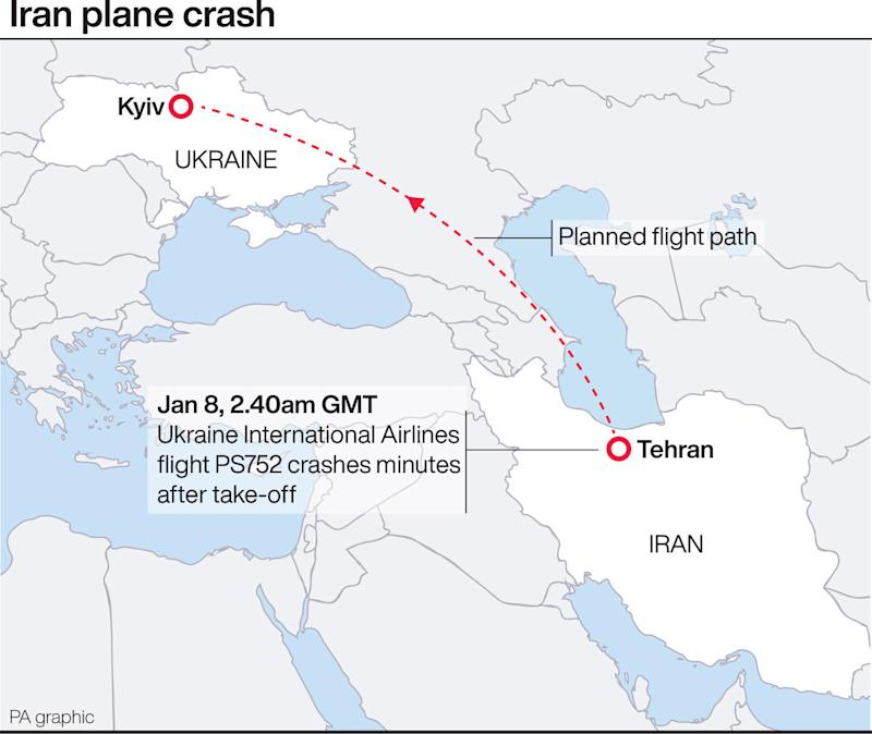 Iran plane crash. See story AIR Ukraine. Infographic PA Graphics