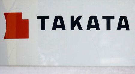 Logo of Takata Corp is seen on its display at a showroom for vehicles in Tokyo