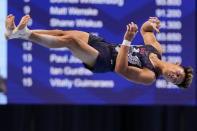 Yul Moldauer competes in the floor exercise during the men's U.S. Olympic Gymnastics Trials Saturday, June 26, 2021, in St. Louis. (AP Photo/Jeff Roberson)