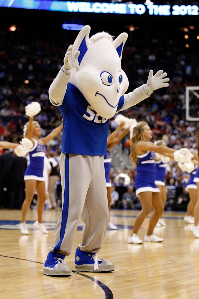 COLUMBUS, OH - MARCH 16: The Saint Louis Billikens mascot walks on the court during a stoppage in play against the Memphis Tigers during the second round of the 2012 NCAA Men's Basketball Tournament at Nationwide Arena on March 16, 2012 in Columbus, Ohio.  (Photo by Rob Carr/Getty Images)
