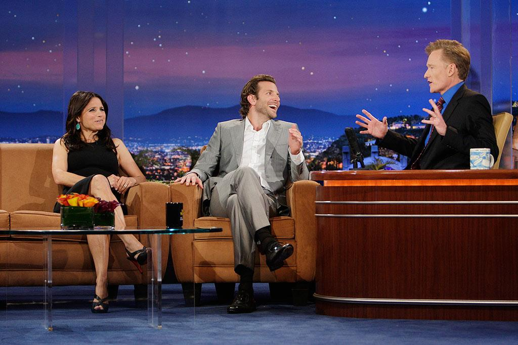 Julia Louis-Dreyfus gave Conan and Bradley Cooper a puzzled look when their discussion turned to the topic of whether or not bunny ears are sexy on a woman. Paul Drinkwater/NBC - June 3, 2009