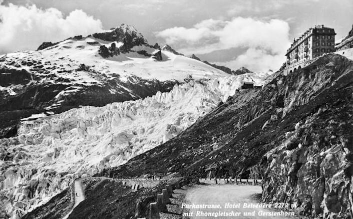The Rhone Glacier and Belvedere hotel are pictured before 1938 in Obergoms