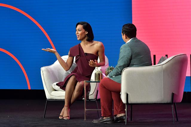 Mj Rodriguez and Lydia Polgreen speak onstage during the 2020 MAKERS Conference at the InterContinental Los Angeles Downtown on February 12, 2020 in Los Angeles, California. (Photo by Emma McIntyre/Getty Images for MAKERS)