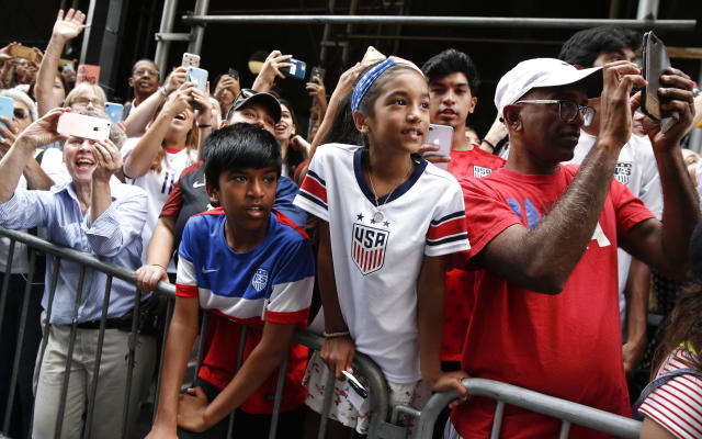 A view of atmosphere is seen during the U.S. Women's National Soccer Team Victory Parade on July 10, 2019 in New York City. (Photo by Brian Ach/WireImage)