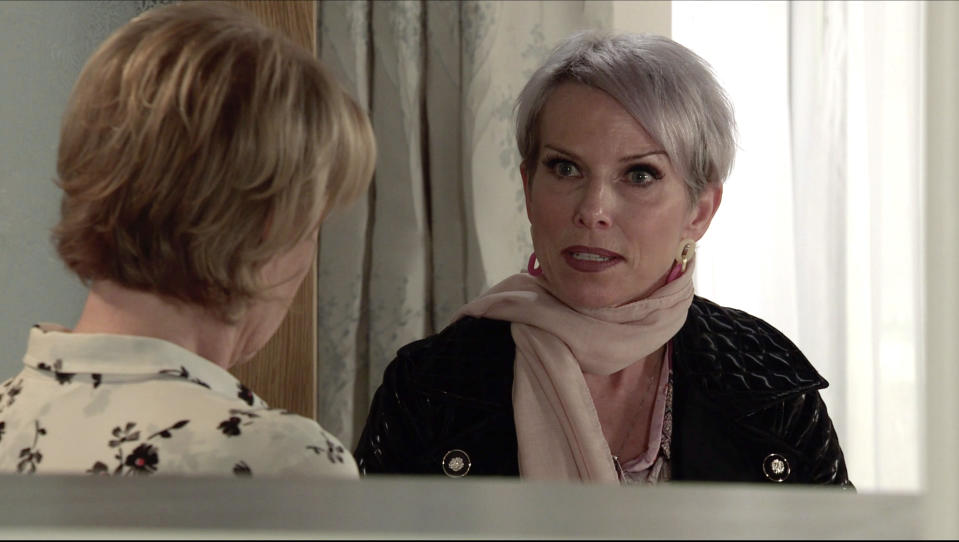 FROM ITV  STRICT EMBARGO- No Use Before  Tuesday 19th January 2021  Coronation Street - Ep 10231  Monday 25th January 2021 - 1st Ep  Debbie Webster [SUE DEVANEY] swears blind that she didnÕt know anything about the bribery or the assault on Fay.  Picture contact David.crook@itv.com   This photograph is (C) ITV Plc and can only be reproduced for editorial purposes directly in connection with the programme or event mentioned above, or ITV plc. Once made available by ITV plc Picture Desk, this photograph can be reproduced once only up until the transmission [TX] date and no reproduction fee will be charged. Any subsequent usage may incur a fee. This photograph must not be manipulated [excluding basic cropping] in a manner which alters the visual appearance of the person photographed deemed detrimental or inappropriate by ITV plc Picture Desk. This photograph must not be syndicated to any other company, publication or website, or permanently archived, without the express written permission of ITV Picture Desk. Full Terms and conditions are available on  www.itv.com/presscentre/itvpictures/terms