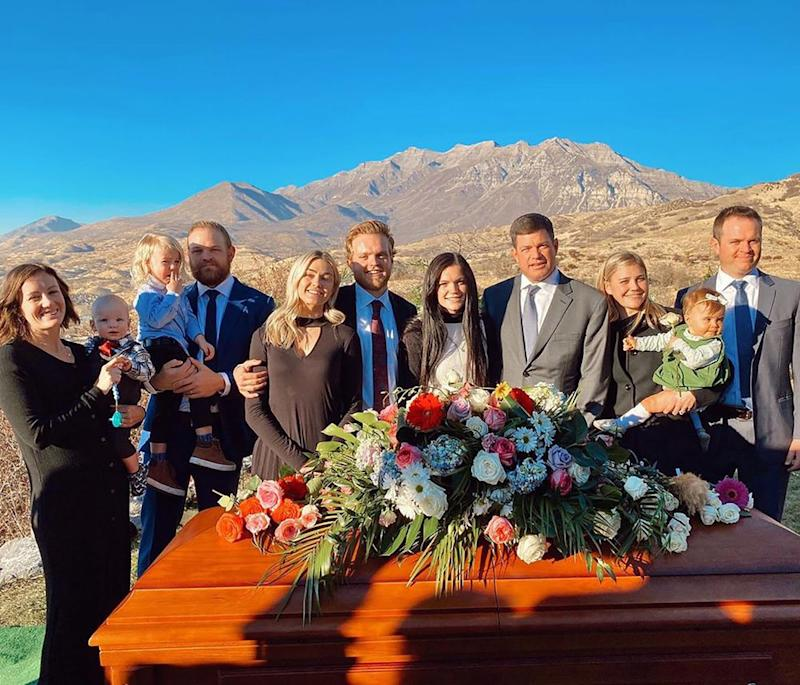 Lindsay Arnold and family at her mother-in-law's funeral | Lindsay Arnold Cusick/Instagram
