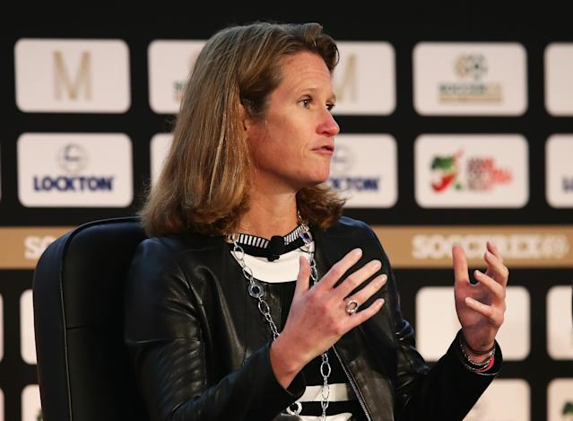 Kathy Carter speaks at the Soccerex Global Convention in 2016 in Manchester. (Getty)