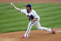 Philadelphia Phillies starting pitcher Aaron Nola (27) throws during the first inning of a baseball game against the St. Louis Cardinals, Sunday, April 18, 2021, in Philadelphia. (AP Photo/Laurence Kesterson)