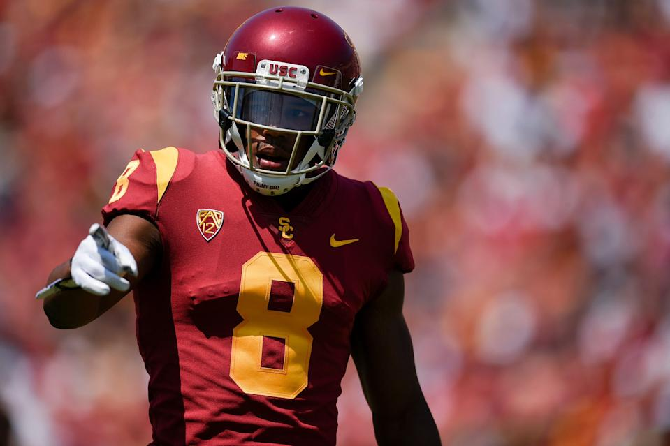 Former USC wide receiver Amon-Ra St. Brown is known for his strength catching the ball and toughness.