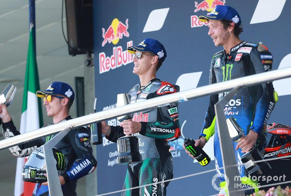 "Podium MotoGP Andalusia 2020: Maverick Vinales, Yamaha Factory Racing, Fabio Quartararo, Petronas Yamaha SRT,Valentino Rossi, Yamaha Factory Racing<span class=""copyright"">Gold and Goose / Motorsport Images</span>"