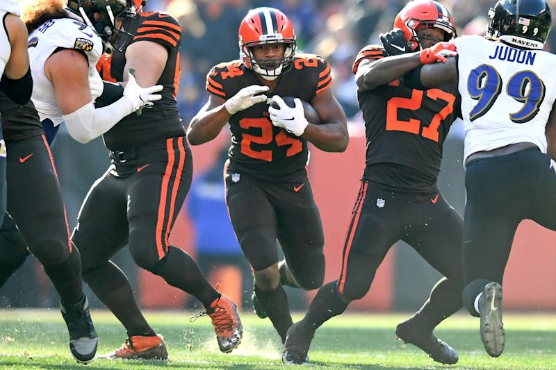 CLEVELAND, OH - DECEMBER 22, 2019: Running back Nick Chubb #24 of the Cleveland Browns carries the ball in the first quarter of a game against the Baltimore Ravens on December 22, 2019 at FirstEnergy Stadium in Cleveland, Ohio. Baltimore won 31-15. (Photo by: 2019 Nick Cammett/Diamond Images via Getty Images)
