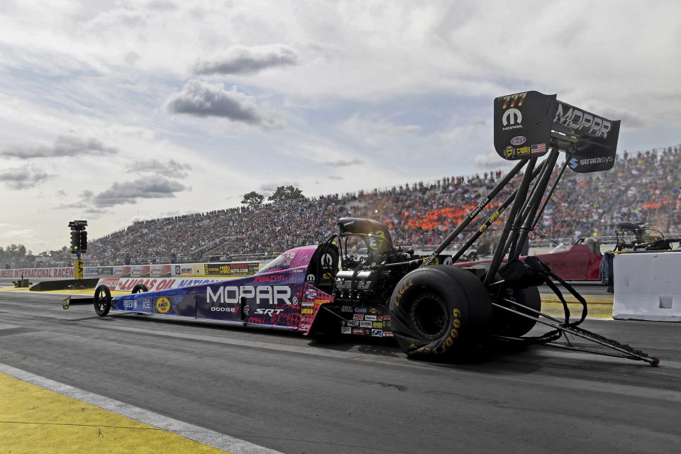 In this photo provided by the NHRA, Top Fuels Leah Pritchett competes in the Lucas Oil NHRA Nationals at Brainerd International Raceway in Brainerd, Minn., Sunday, Aug. 18, 2019. Pritchett won over Mike Salinas in the final round at the raceway with her 3.732 second run at 321.04 mph to conclude the 38th annual Lucas Oil NHRA Nationals. (Marc Gewertz/NHRA via AP)