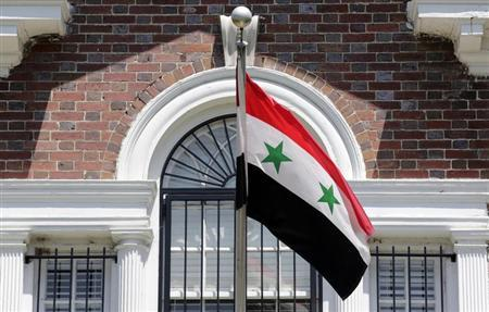 A flag flies at the Syrian Embassy in Washington