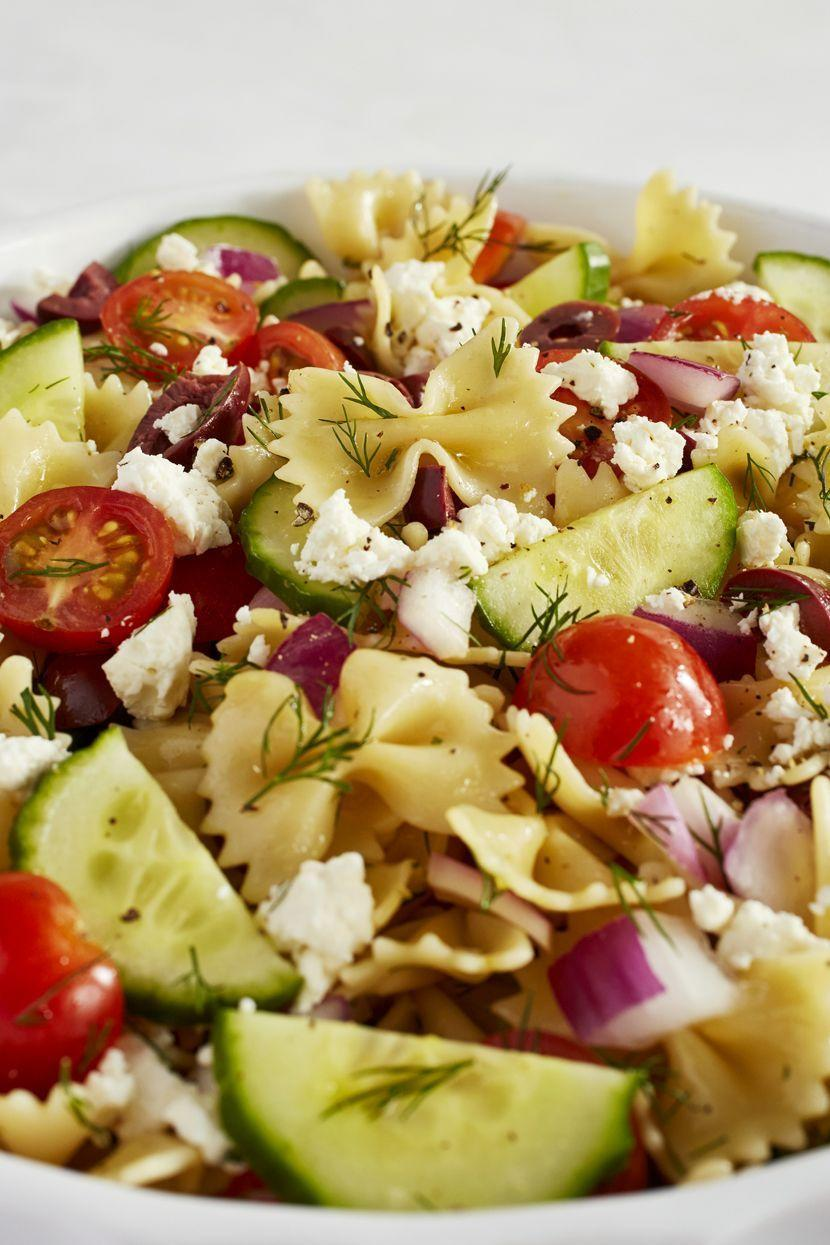 """<p><a href=""""https://www.delish.com/uk/cooking/recipes/a28839760/best-greek-salad-recipe/"""" rel=""""nofollow noopener"""" target=""""_blank"""" data-ylk=""""slk:Greek salad's"""" class=""""link rapid-noclick-resp"""">Greek salad's</a> are filled with Mediterranean produce and flavours. Briny olives meet sweet tomatoes and fresh cucumbers, and sprinkled with Feta cheese making for a truly filling and delicious meal of its own. The only way we thought we could improve is turning it into a pasta salad</p><p>Get the <a href=""""https://www.delish.com/uk/cooking/recipes/a35582256/greek-pasta-salad-recipe/"""" rel=""""nofollow noopener"""" target=""""_blank"""" data-ylk=""""slk:Greek Pasta Salad"""" class=""""link rapid-noclick-resp"""">Greek Pasta Salad</a> recipe.</p>"""