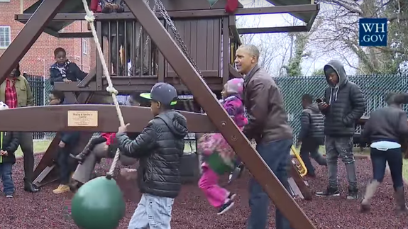 The Obamas paid a visit to Sasha and Malia's donated swing set