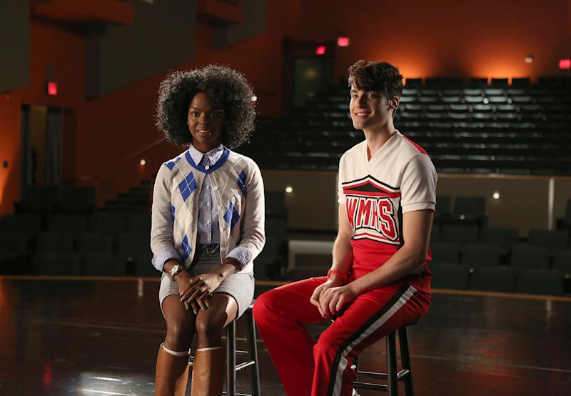 "GLEE: Jane (guest star Samantha Marie Ware, L) and Mason (guest star Billy Lewis Jr., R) perform a song for Glee club in the ""Jagged Little Tapestry"" episode of GLEE airing Friday, Jan. 16, 2015 (9:00-10:00 PM ET/PT) on FOX. (Photo by FOX Image Collection via Getty Images)"