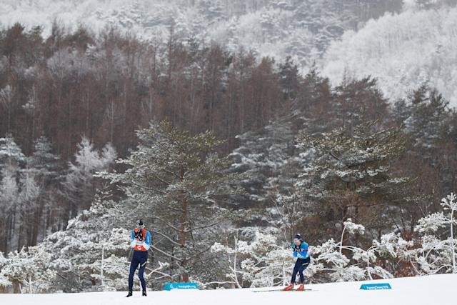 Oksana Shyshkova of Ukraine and her guide Vitaliy Kazakov compete in the Biathlon Visually Impaired Women's 12.5km at the Alpensia Biathlon Centre. The Paralympic Winter Games, PyeongChang, South Korea, Friday 16th March 2018.OIS/IOC/Simon Bruty/Handout via Reuters