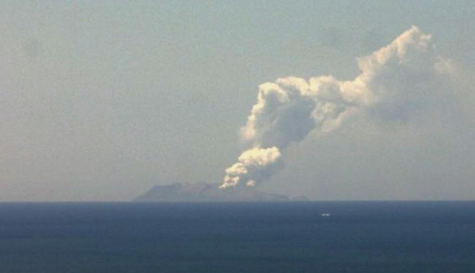 New Zealand Institute of Geological and Nuclear Sciences shows a plume of ash rising from the Whakaari or White Island volcano.