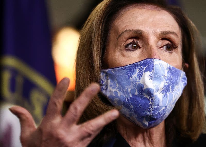 U.S. House Speaker Pelosi speaks to reporters during weekly news conference on Capitol Hill in Washington