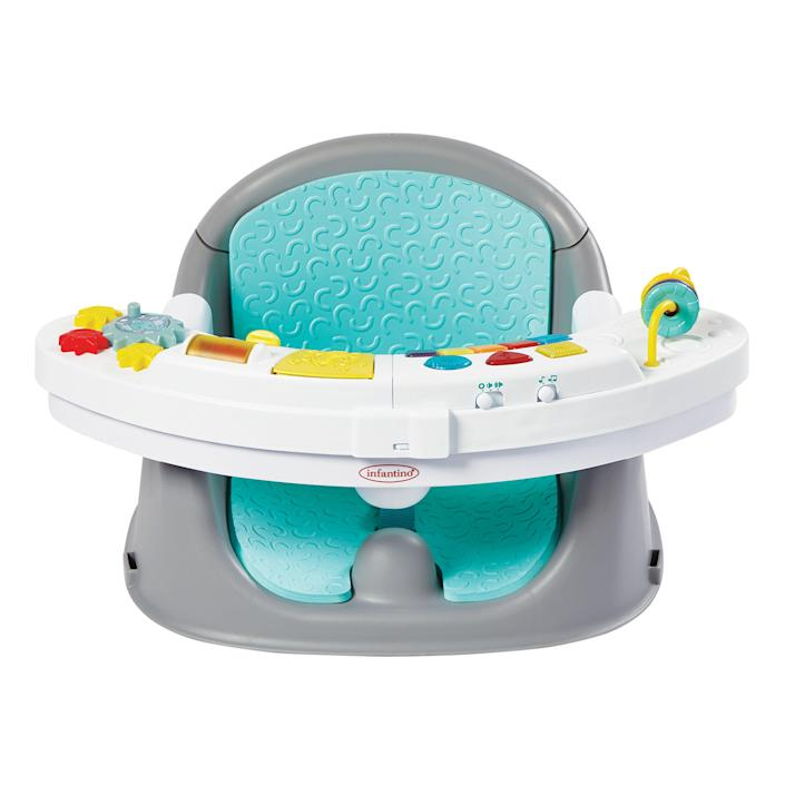 """<p><strong>Infantino</strong></p><p>walmart.com</p><p><strong>$44.73</strong></p><p><a href=""""https://go.redirectingat.com?id=74968X1596630&url=https%3A%2F%2Fwww.walmart.com%2Fip%2F305072698&sref=https%3A%2F%2Fwww.bestproducts.com%2Fparenting%2Fbaby%2Fg113%2Fbaby-floor-seats-sitting-up%2F"""" rel=""""nofollow noopener"""" target=""""_blank"""" data-ylk=""""slk:Shop Now"""" class=""""link rapid-noclick-resp"""">Shop Now</a></p><p>Bless the makers of this floor seat — it will keep your kids entertained for a very long time thanks to the bells and whistles on the tray. Yes, there are times when baby toys that have a lot of lights and sound can be profoundly irritating, and that's why the tray is removable. </p><p>However, if you just want a minute to make dinner and not have all the Tupperware dragged onto the floor, this is what you want. </p>"""