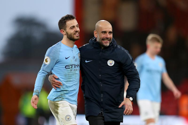Pep Guardiola came to the defense of Bernardo Silva over allegations of racism. (Photo by Catherine Ivill/Getty Images)