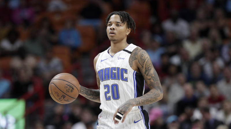 Orlando Magic guard Markelle Fultz (20) in action during the first half of an NBA basketball game against the Miami Heat, Monday, Jan. 27, 2020, in Miami. (AP Photo/Lynne Sladky)